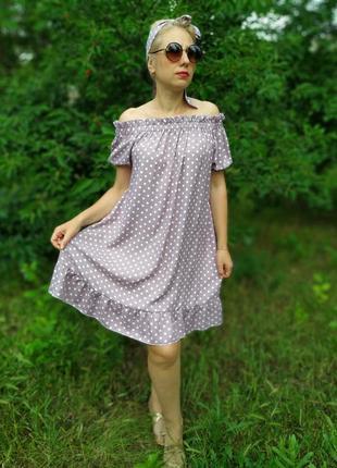 Платье оверсайз в горох family look6 фото