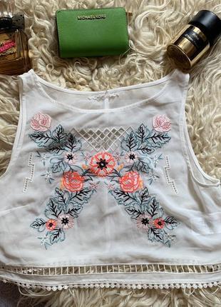 Шифоновая майка / блуза с вышивкой h&m