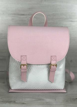 Молодежный розовый рюкзак прозрачный городской с белой косметичкой
