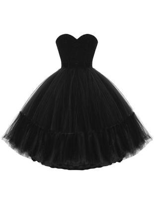 Чёрное пышное платье миди с фатином корсетное атласный верх coast фирменное