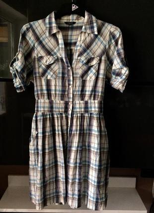 Платье халат рубашка на кнопках клетку из хлопка