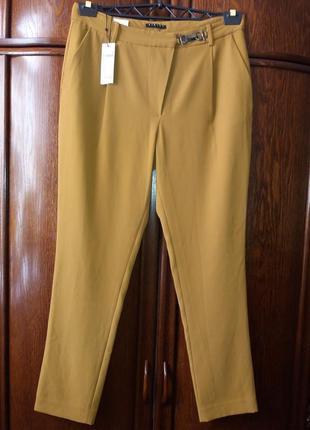 Бомбезные брюки с защипами, с карабином. горчичного цвета---sisley-10-12h италия