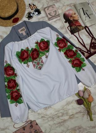 Обнова! вышиванка блуза бисер цветы маки качество