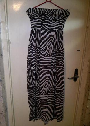 """Трикотажный,красивый, длинный- в пол,платье-сарафан """"зебра"""",бол.16-20 разм, e-vie"""