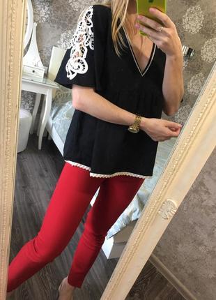 Блузка zara с ажурной вышивкой 27% лен
