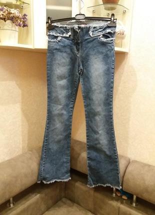 Крутые джинсы кюлоты, укороченые с бахромой, высокая талия l--denim co--10\12h  ж11
