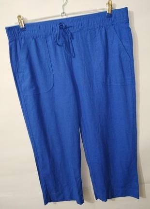 Брюки штаны капри голубые натуральные с карманами uk 12/40/m