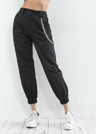 Черные джоггеры брюки карго с цепочкой 2019