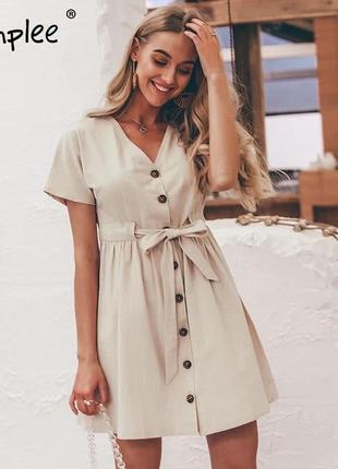 Must have 2019  актуальна сукня з гудзиками льон