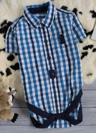 Рубашка-боди в клетку1 фото