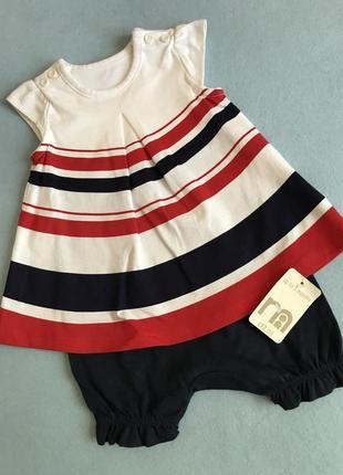 Песочник+платье/ боди удобный комплект для новорождённой на 6.5 кг