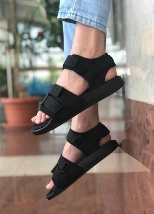 Летние сандалии adidas в полностью черном цвете (весна-лето-осень)😍