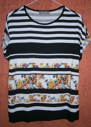 Классная блуза полоска цветы тренд вискоза настурция капуцин коротким рукавом