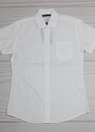 Школьная хлопковая молочная рубашка, с коротким рукавом, турция