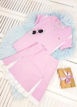 Рожевий костюм спідниця+футболка ellesse