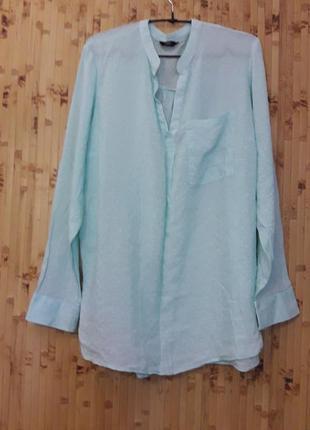 Голубая рубашка коттон вискоза блуза большой размер