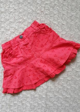 Bakkaboe яркая летняя юбочка рюшами коралловая ришелье вышивка