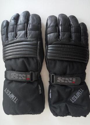 Мотоперчатки утеплённые кожаные рукавицы байкерские комбинированные gore-tex