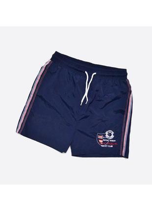 Paul & shark fake m-l/ мужские пляжные шорты с сеточкой, тёмно-синие