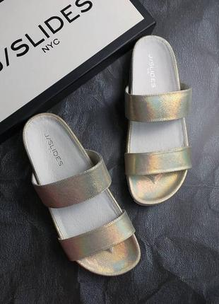J slides ny оригинал кожаные сандалии цвета радужное золото