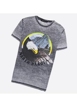 Cedarwood state m / лёгкая состаренная серая футболка с большим принтом, с орлом