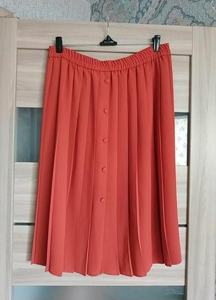 Красивая рыже-оранжевая юбка миди юбка плиссе