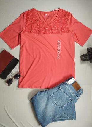 Блузка трикотажная коралловая футболка с коротким рукавом