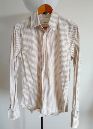 Хлопковая мужская рубашка gas l в полоску с длинным рукавом