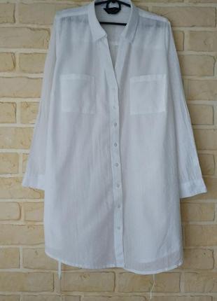 Удлиненная, лёгкая натуральная рубашка, большой размер