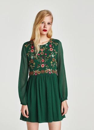 Зелёное платье плаття сукня с вышивкой в горошек мушку zara