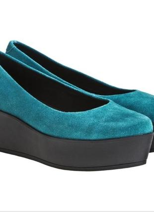 Туфли замшевые на платформе vagabond бирюзовый цвет