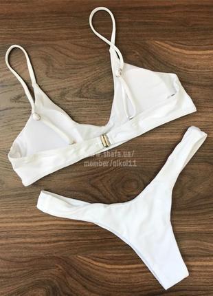 👑 роскошный белый купальник 👑 плавки стринги бразилиана6 фото