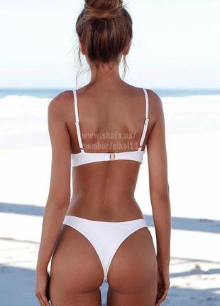 👑 роскошный белый купальник 👑 плавки стринги бразилиана3 фото