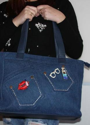 Большая джинсовая стильная сумка
