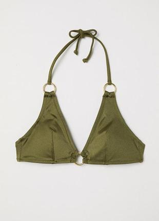 Треугольный лиф бикини с декоративными кольцами на завязках от h&m