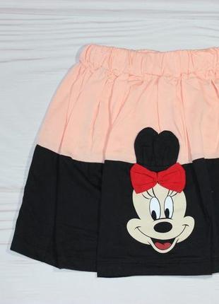 Летняя персиковая юбка-солнце с минни маус, на резинке, турция