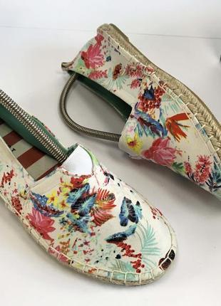 Эспадрильи женские белые тканевые текстиль удобные новые летние тапочки