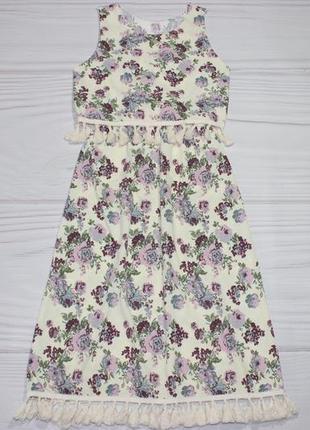 Летнее платье-сарафан в цветочный принт, с кисточками, бохо стиль, турция