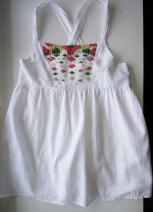 Хлопковое платье сарафан с переплётами для девочки принт бисером