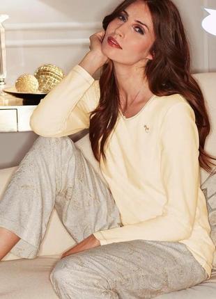 Шикарные пижамные штаны с золотистым люрексом в ткани! s 36-38 евро тсм tchibo