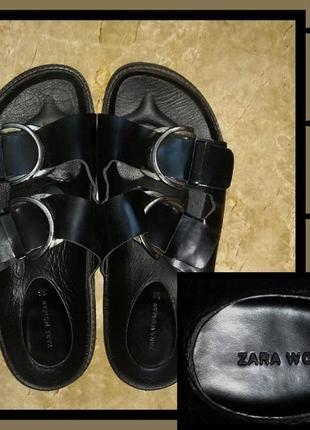 Чёрные сандали из экокожи zara woman