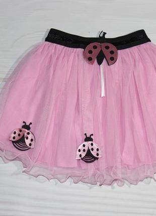 Нарядная фатиновая розовая юбка, на резинке, турция