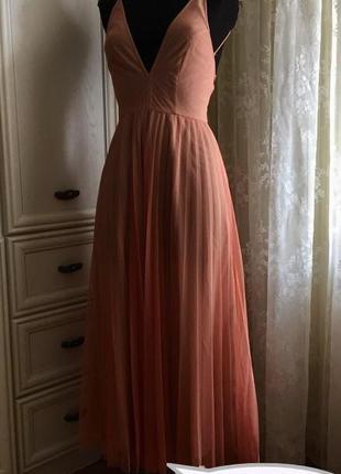 Cногсшибательное роскошное платье asos! фатин мягкий, плиссе, плиссировка, тонкие лямки!
