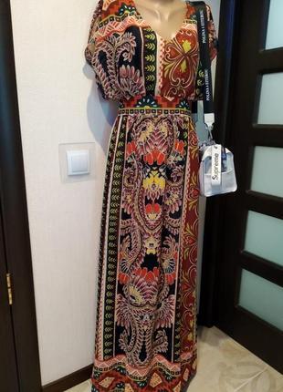 Тончайшее летнее платье макси с ярким орнаментом летящее