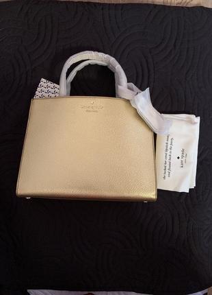 Кожаная сумка  kate spade золотистого цвета оригинал из сша