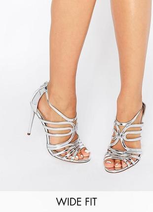 Босоножки серебристые на каблуке асос asos