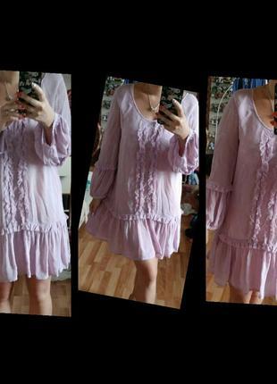 Платье воздушное волан рюши