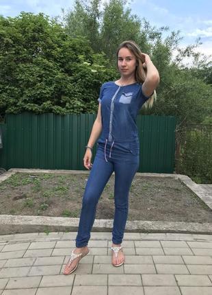 Стильный джинсовый комбинезон комбез blue ridge
