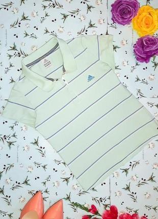Акция 1+1=3 фирменная мятная футболка поло в полоску adidas, размер 42 - 44