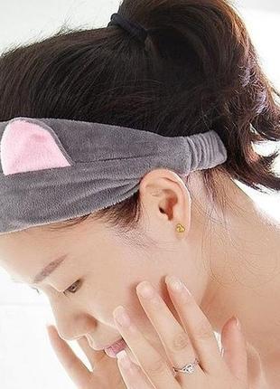 Велюровая косметологическая повязка на голову для волос с ушками
